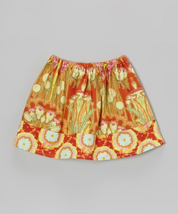 Burnt Orange Tree Carmine Circle Skirt - Toddler & Girls