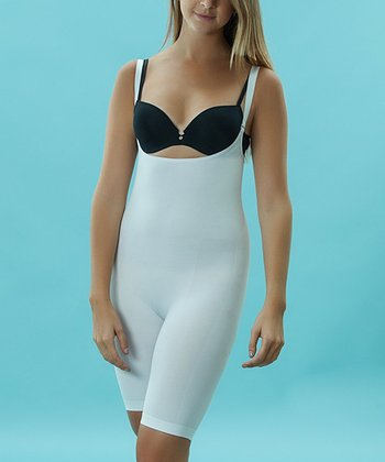 White Seamless Control Half Bodysuit - Women & Plus