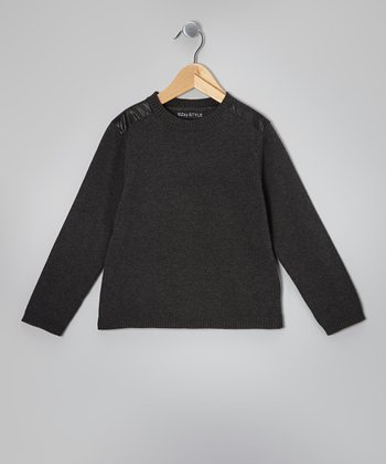 Charcoal Gray Commando Sweater - Kids