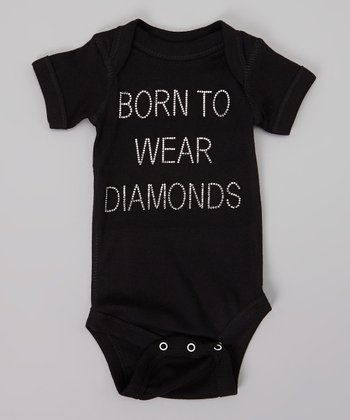 Black 'Born to Wear Diamonds' Rhinestone Bodysuit - Infant