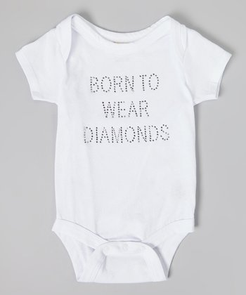 White Born to Wear Diamonds' Rhinestone Bodysuit - Infant