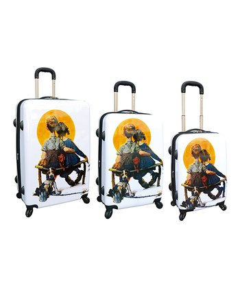 White Norman Rockwell Hardside Luggage Set