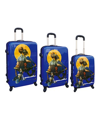 Blue Norman Rockwell Hardside Luggage Set