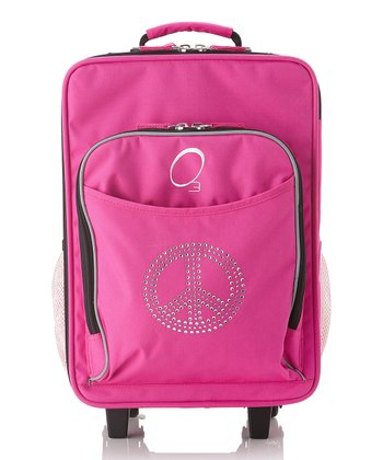 Pink Rhinestone Peace Sign All-in-One Wheeled Suitcase