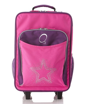 Pink Rhinestone Star All-in-One Wheeled Suitcase