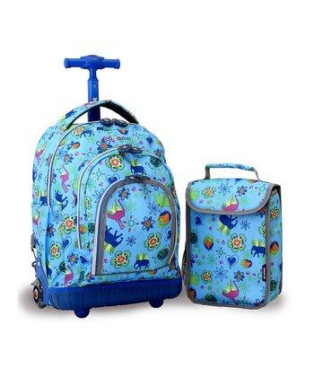Blue Animal Floral Rolling Backpack & Lunch Bag