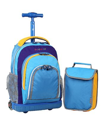 Blue & Yellow Rolling Backpack & Lunch Bag