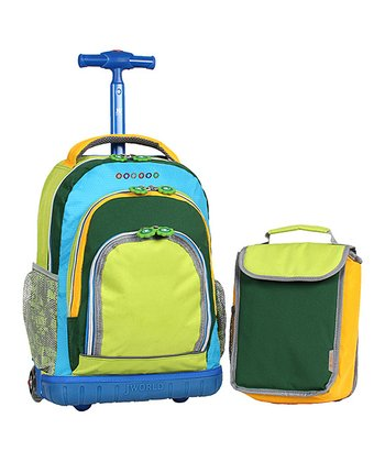 Blue & Green Rolling Backpack & Lunch Bag