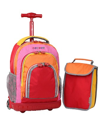 Red & Orange Rolling Backpack & Lunch Bag