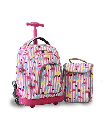 Pink Umbrella Stripe Rolling Backpack & Lunch Bag