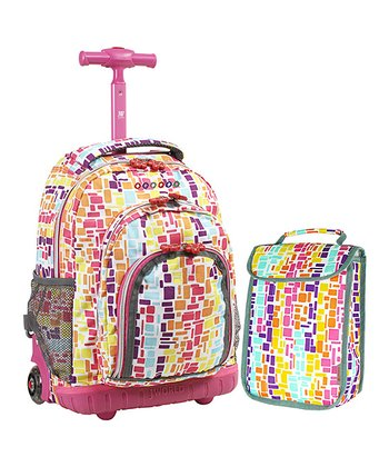 Pink Mosaic Stripe Rolling Backpack & Lunch Bag