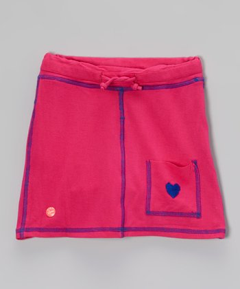 Pink & Purple Contrast Stitching A-Line Skirt - Toddler & Girls