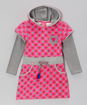 Pink & Gray Argyle Layered Dress - Toddler & Girls