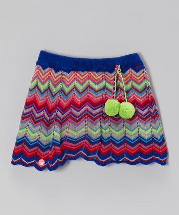 Blue & Pink Zigzag Stripe Skirt - Toddler & Girls