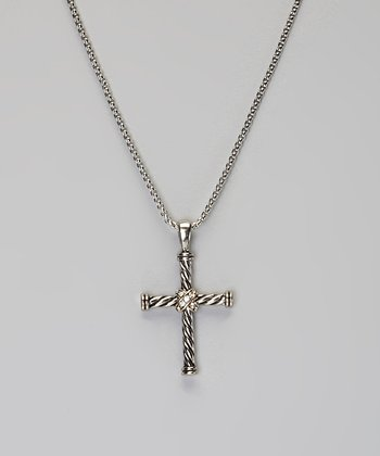 Silver Twisted Cross Pendant Necklace
