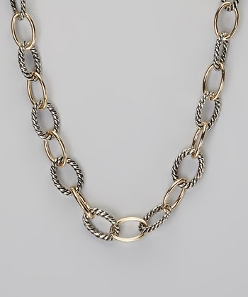 Silver & Gold Twisted Link Necklace