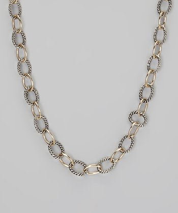 Silver & Gold Twisted Long Link Necklace