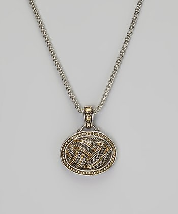Silver & Gold Braided Pendant Necklace