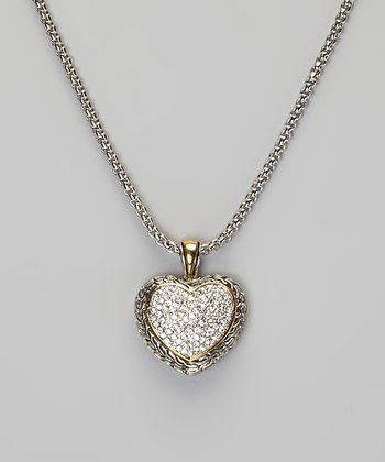 Sterling Silver & Gold Crystal Heart Pendant Necklace