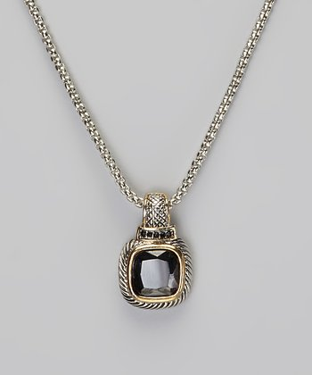 Onyx & Two-Tone Square Pendant Necklace