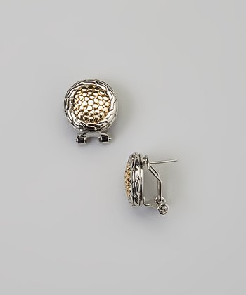 Sterling Silver & Gold Pebbled Earrings