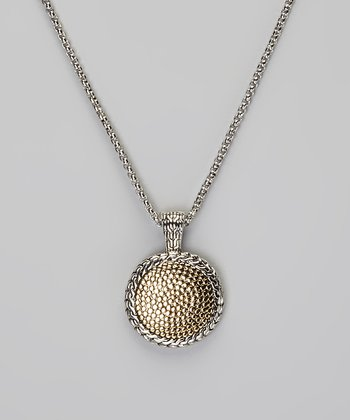 Sterling Silver & Gold Pebbled Pendant Necklace