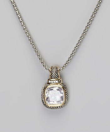 Silver & Gold Crystal Square Pendant Necklace