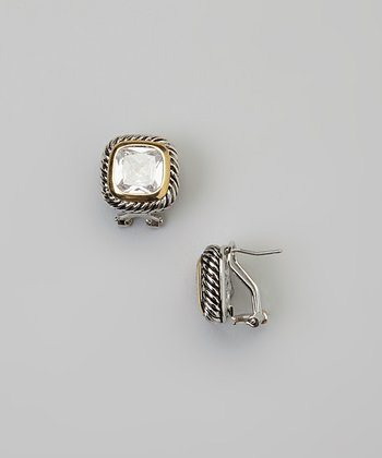 Silver & Gold Crystal Square Earrings