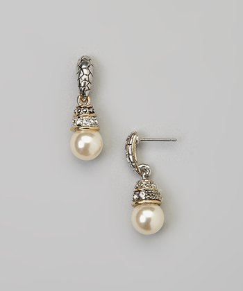 Silver Pearl Pave Crystal Earrings
