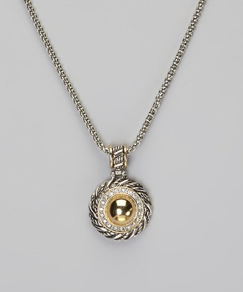 Pavé Crystal & Two-Tone Disc Pendant Necklace