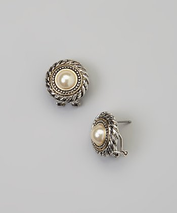 Pearl & Silver Button Earrings