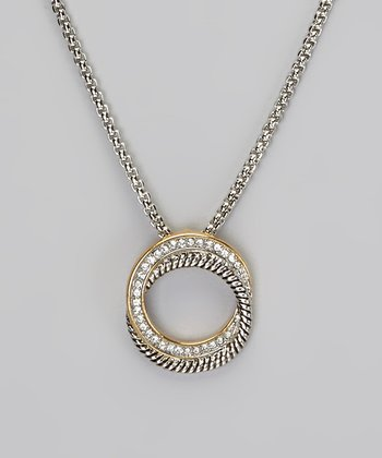 Crystal Intertwined Circle Pendant Necklace