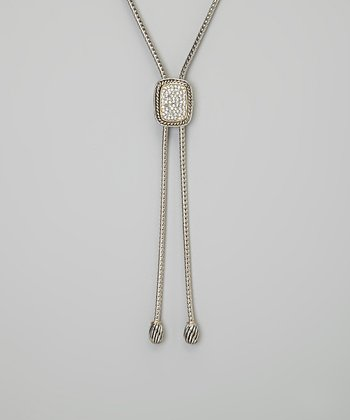 Silver Pave Crystal Lariat Necklace
