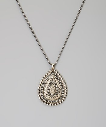 Silver & Gold Twisted Teardrop Pendant Necklace