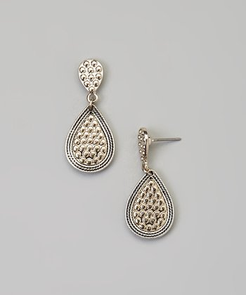 Silver & Gold Pave Teardrop Earrings