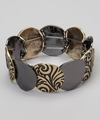 Black & Gold Etched Disc Stretch Bracelet