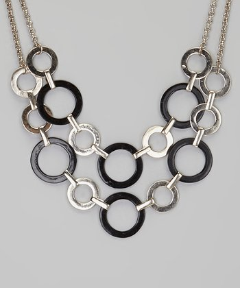 Silver & Black Hammered Ring Bib Necklace