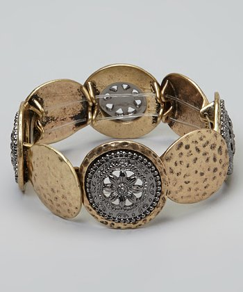 Gold & Silver Flower Disc Stretch Bracelet