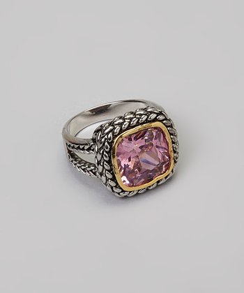 Silver & Pink Crystal Ring