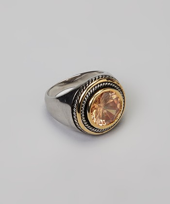 Topaz & Silver Round Stone Cocktail Ring