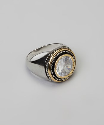 Clear Cubic Zirconia & Two-Tone Round Stone Cocktail Ring