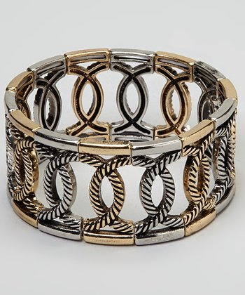 Silver & Gold Twisted Circle Stretch Bracelet