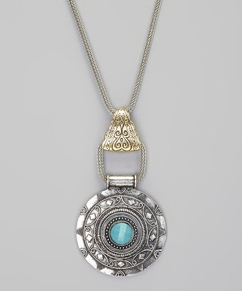 Brushed Silver & Turquoise Pendant Necklace