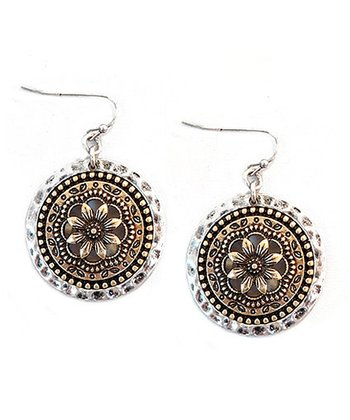 Gold & Silver Flower Disc Earrings