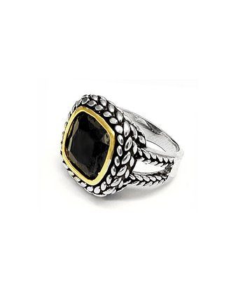 Black Cubic Zirconia & Silver Square Stone Ring