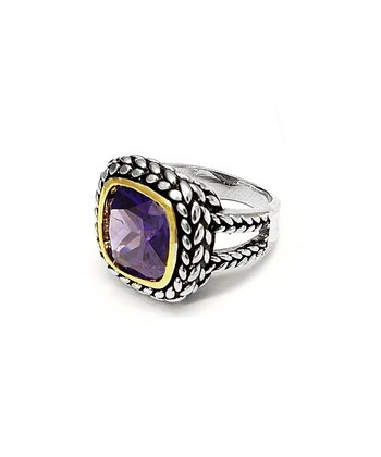 Purple Cubic Zirconia & Silver Square Stone Ring