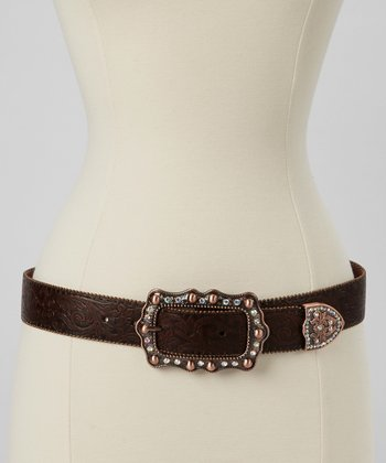 Brown Rhinestone Buckle Belt