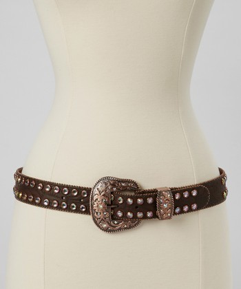 Brown & Rose Gold Embossed Rhinestone Belt