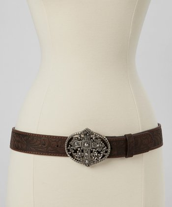 Brown Embossed Rhinestone Cross Belt