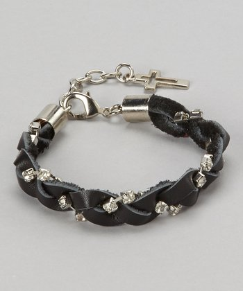 Silver & Black Cross Charm Braided Bracelet